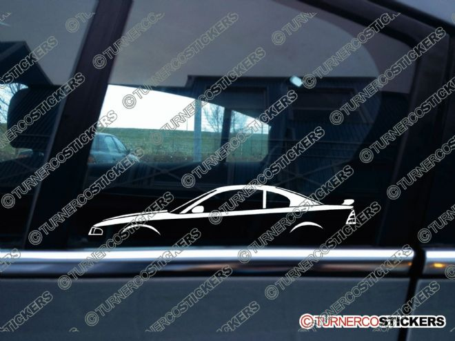 2x Car Silhouette sticker - Ford Mustang GT ,4th gen (1994-1998) WITH SPOILER muscle car